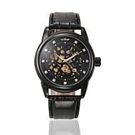 Férfi Sportos óra Ruha óra Divatos óra Karóra mechanikus Watch Automatikus önfelhúzós Naptár Valódi bőr Zenekar Amulett Alkalmi Luxus