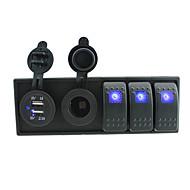 dc 12v / 24v LED-Digital-3.1a Dual USB Ladegerät Netzsteckdose mit Knebel Wippschalter Prüfkabeln und Gehäusehalter