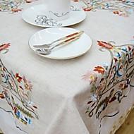 Neliö Embroidered Table Cloths , Linen materiaaliHotel ruokapöytä Häät Party Sisustus Häihin Illallinen Joulu Sisustus Favor Taulukko