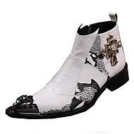 メンズ 靴 レザー 春 夏 秋 冬 アイデア ファッションブーツ コンバットブーツ コンフォートシューズ ブーツ ウォーキング リベット アニマルプリント フラワー コンビ 用途 結婚式 カジュアル パーティー ホワイト
