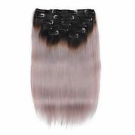 7 kpl / set 1b / harmaa ombre väri musta harmaaseen leikkeen hiusten pidennykset 14 tuuman 18inch 100% hiuksista