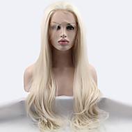 Naisten Synteettiset peruukit Lace Front Pitkä Suora Bleach Blonde Luonnollinen hiusviiva Luonnollinen peruukki Halloween Peruukki