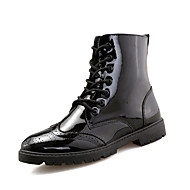 부츠-사무실 & 커리어 캐쥬얼 운동-남성-수소 신발 컴포트-레더렛-플랫-블랙 실버 레드