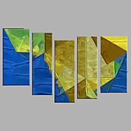 Kézzel festett Absztrakt Emberek Vízszintes,Modern Európai stílus Öt elem Vászon Hang festett olajfestmény For lakberendezési