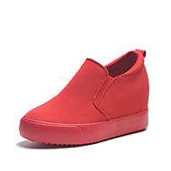Feminino Sapatos Lona Primavera Outono Conforto Mocassins e Slip-Ons Anabela Para Casual Preto Vermelho