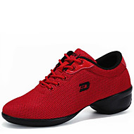Women's Dance Shoes Fabric Fabric Dance Sneakers / Modern Sneakers Low Heel Outdoor Black/White/Red