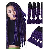 """Jumbo laatikko punokset Ombre hiukset hiukset Kanekalon Musta / violetti Hiuspidennykset 24 """" punokset"""