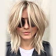 Mulher Perucas de cabelo capless do cabelo humano Loiro Platina Médio Ondulado Corte em Camadas Com Franjas Parte lateral
