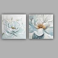 Ručno oslikana Cvjetni / Botanički Kvadrat,Moderna Klasika Dvije plohe Platno Hang oslikana uljanim bojama For Početna Dekoracija