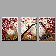 Ručno oslikana Cvjetni / Botanički Horizontalno,Europska Style Rustikalni Tri plohe Platno Hang oslikana uljanim bojama For Početna
