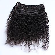 malesialainen Kindy kiharat hiukset leikkeen hiusten pidennykset neitsyt hiukset 7 kpl / setti luonnollinen väri 120g / setti