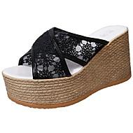 Feminino Chinelos e flip-flops Couro Ecológico Verão Caminhada Vazados Anabela Branco Preto 7,5 a 9,5 cm