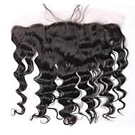 perulainen löysä aallon etuosan 100% hiuksista 13x4 korvien pitsi edestä sulkeminen Remy hiukset luonnollinen väri vapaa osa