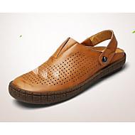 Férfi Klumpák és papucsok Kényelmes Hole cipő Tüll Bőr Tavasz Hétköznapi Fekete Sárga Lapos