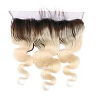 Brasilian hiuksista 1b / 613 blondi 13 * 4 pitsi edestä sulkukappale aalto Sveitsin pitsi vauvan hiukset