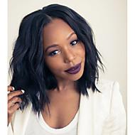Naisten Aitohiusperuukit verkolla Aidot hiukset 180% Tiheys Laineikas 360° etuosa Peruukki Musta Lyhyt Keskikokoinen Luonnollinen