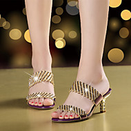 Damen Sandalen Mikrofaser Sommer Herbst Walking Strass Glitter Stöckelabsatz Gold Schwarz Purpur 5 - 7 cm