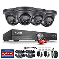 Sannce® 8ch cctv система безопасности 1080p ahd / tvi / cvi / cvbs / ip 5-in-1 dvr с камерами 4 * 2.0mp 1tb hdd