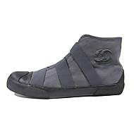 Herre Støvler Komfort Trendy støvler Lerret Vår Høst Avslappet Snøring Flat hæl Svart Grå Navyblå Kakifarget Flat