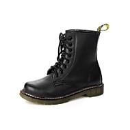 Damskie Buciki Comfort Modne obuwie Real Leather PU Jesień Zima Casual Black Burgundowy Płaski obcas