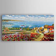 Håndmalte Landskap Vannrett,Abstrakt Et Panel Lerret Hang malte oljemaleri For Hjem Dekor