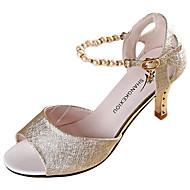Damen Sandalen PU Sommer Walking Perle Stöckelabsatz Gold Weiß Rosa 7,5 - 9,5 cm