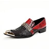 Masculino sapatos Couro Primavera Verão Outono Inverno Conforto Inovador Mocassins e Slip-Ons Caminhada Bico Metálico Para Casamento