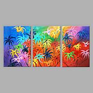 Ručno oslikana Cvjetni / Botanički Vertikalno,Sažetak Tri plohe Platno Hang oslikana uljanim bojama For Početna Dekoracija