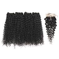 Menneskehår Vevet Brasiliansk hår Kinky Krøllet 1 år 5 deler hår vever kg Raske hårvever