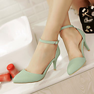 Women's Shoes PU Summer Comfort Heels Stiletto Heel Pointed Toe With For Casual Beige Light Blue