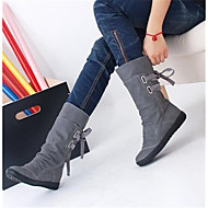 Feminino Sapatos Couro Ecológico Outono Inverno Conforto Botas Com Para Casual Preto Cinzento Marron