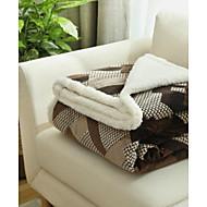 Flanell Rutet Polyester/ Bomullsblanding tepper