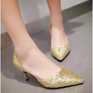 レディース 靴 スパンコール 春 コンフォートシューズ ヒール とともに 用途 カジュアル ゴールド ブラック シルバー