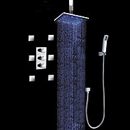Moderne Luksus LED Vægmonteret Sidespray Regndusj Hånddusj Inkludert Høy kvalitet with  Messing Ventil Krom , Dusjkran