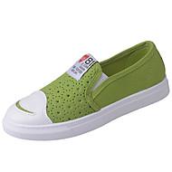 Feminino Mocassins e Slip-Ons Conforto Lona Verão Casual Caminhada Rasteiro Branco Preto Amarelo Verde 5 a 7 cm