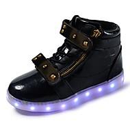Para Meninos Tênis Conforto Tênis com LED Micofibra Sintética PU Outono Inverno Casual Cadarço Velcro Rasteiro Branco Preto Vermelho