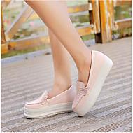 Feminino Sapatos Couro Ecológico Primavera Conforto Rasos Com Para Casual Preto Azul Rosa Claro