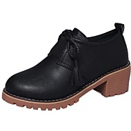Ženske Oksfordice Udobne cipele Jesen PU Formalne prilike S resicama Kockasta potpetica Crn Braon 5 cm - 7 cm