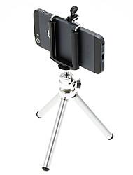 I-11-SL Desktop Mini Tripé de alumínio com dois pisos três seções (Sliver) e Mobile Phone Tripod Mount Holder