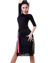 Latin tánc Ruhák és szoknyák Női Teljesítmény Chinlon 1 darab Rövidujjú Ruha