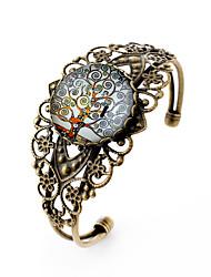 Lureme® Vintage Jewelry Time Gem Series Notes Tree Antique Bronze Hollow Flower Open Bangle Bracelet for Women