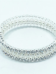 Fashion Pearl Crystal Diamond Bracelet Bangle for Party Women Christmas Gifts