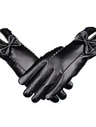winter warm lederen handschoenen (zwart)