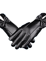 luvas de Inverno couro quente (preto)