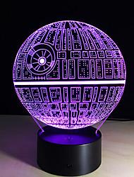 מנורת לילה כוכב מות אשלית 3D LED מתנה מדהימה מנורת הגאדג'ט תפאורת תאורת מנורת שולחן שולחן שינוי 7 צבע לילדים