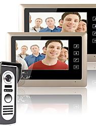 mountainone 7 palců Video dveřní telefon zvonek intercom systém kit 1 kamera 2 monitory noční vidění