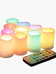 Set van 10 kleurenveranderende multi-color flameless led votive kaarsen met afstandsbediening en timer