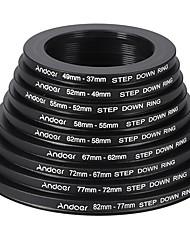 andoer 18st 37-49-52-55-58-62-67-72-77-82mm stap-up / stap-down lens filter metalen adapter ring kit