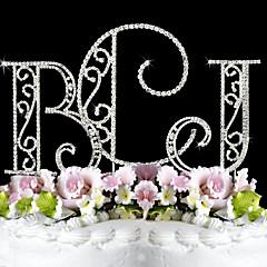 Kakepynt Klassisk Par Monogram Bryllup Utdrikkingslag 15- og 16-års bursdag Jubileum Bursdag Rhinstein Sølv Hage Tema OPP