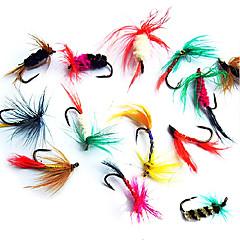 """12 יח ' זבובים אריזות פתיונות פתיונות דיג חבילות פיתיון זבובים שחור חום ירוק צהוב כחול מבחר צבעים אדום g/אונקיה,15 mm/<1"""" אינץ ',מתכתדיג"""